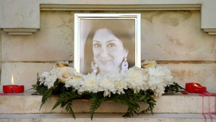 Flowers and tributes for Daphne Caruana Galizia, the Maltese investigative reporter assassinated by a car bomb on Oct. 16, 2017 in northern Malta.