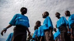 children assisted by humanitarian agencies in a camp for internally displaced persons in South Sudan