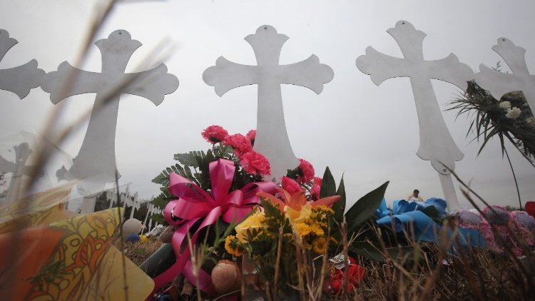 Crosses at a cemetry