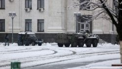 Military blocking access to government buildings in rebel-held Lugansk. 22 November 2017