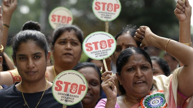 Indian women employees rallying in Hyderabad on the eve of the UN's International Day for the Elimination of Violence Against Women.