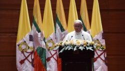 Pope addressing authorities, civil society and diplomatic corps in Nay Pyi Taw, Myanmar, Nov. 28, 2017.