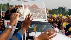 Pope Francis arrives to celebrate Mass in Yangon