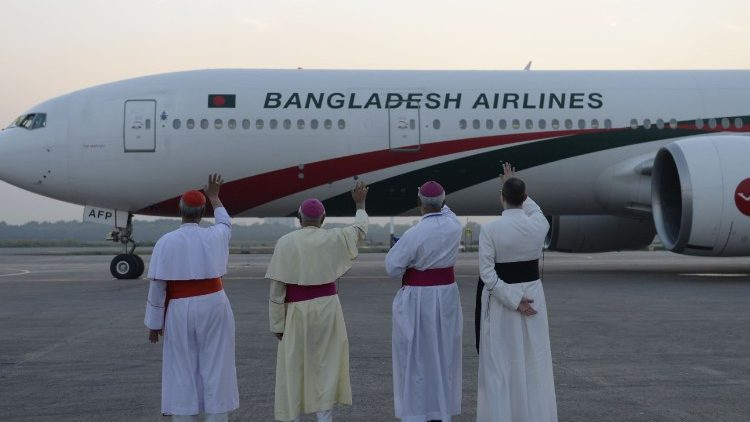 Pope Francis flew back from Dhaka airport on Dec. 2, at the end of his Myanmar-Bangladesh apostolic visit.