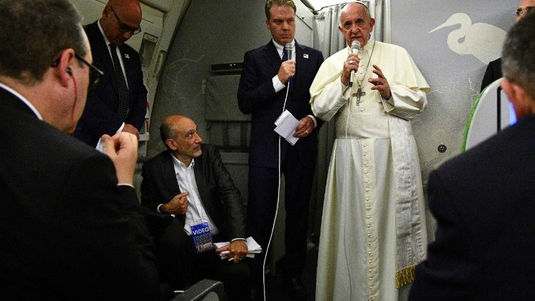Pope Francis during in flight press conference