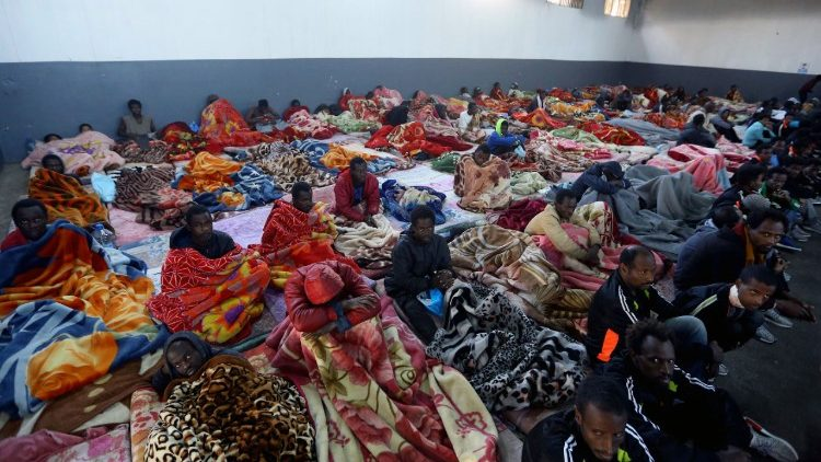 African migrants in the Tariq Al-Matar migrant detention centre in Tripoli