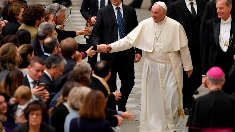 Pope Francis meeting Vatican employees on Dec. 21