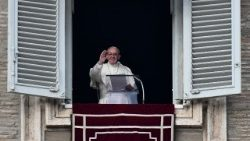 Pope Francis leads the Angelus prayer in St Peter's Square on Sunday