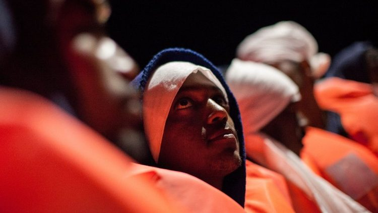 A group of migrants rescued in the Mediterranean Sea off the coast of Libya