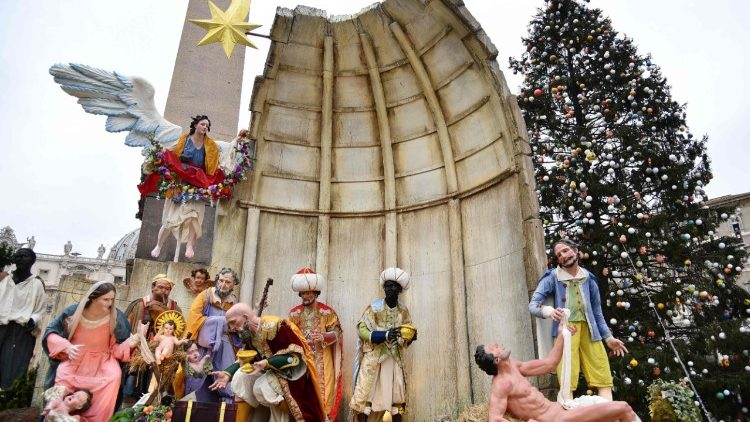 The Nativity scene in St Peter's Square