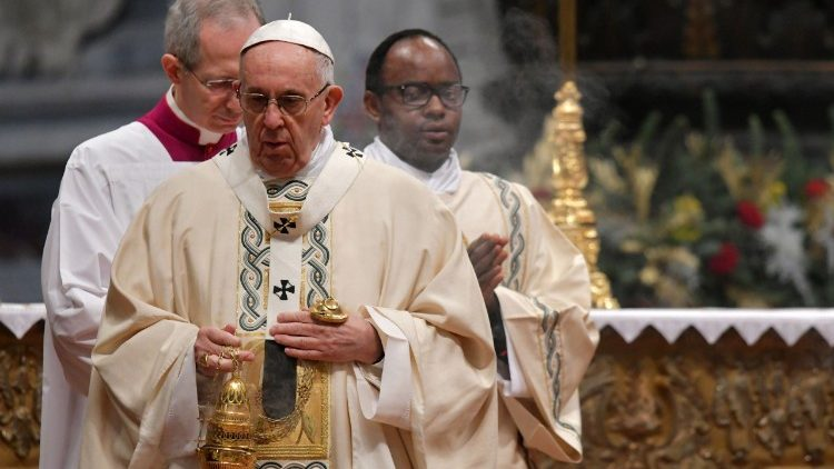 Pope Francis at Mass in Rome's St. Peter's Basilica on the feast of the Epiphany, 6 January 2018..