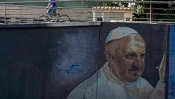 Seen in the capital Buenos Aires, a billboard featuring Argentine native Pope Francis