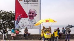 Banners welcoming Pope Francis to Peru - the second leg of his apostolic journey - are seen in Lima