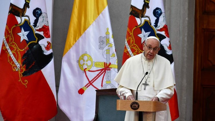 Pope Francis addresses political authorities and the Moneda Palace in Santiago