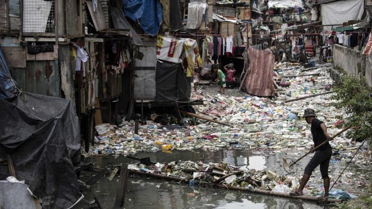 A waterway in a shanty town in the Philippine capital Manila clogged with garbage.
