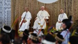 Pope Francis meets with representatives of the Amazon basin's indigenous communities in Puerto Maldonado