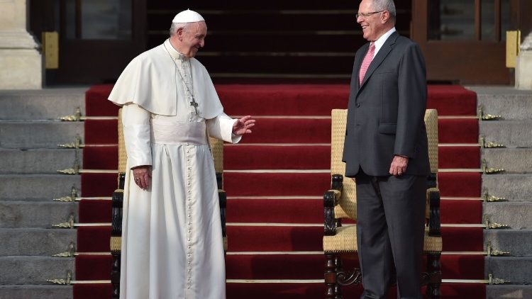 Pope Francis with the President of Peru during his meeting with authorities