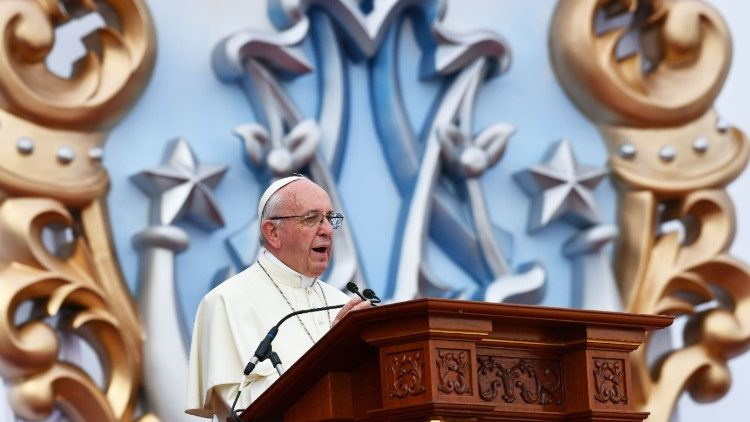 Pope Francis speaks at Marian celebration in Trujillo, Peru
