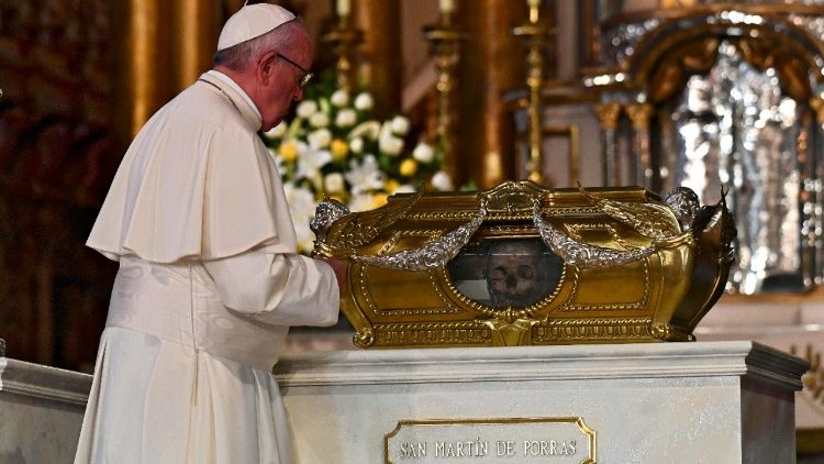 Pope Francis prays before the relics of Peru's Saints in Lima's Cathedral