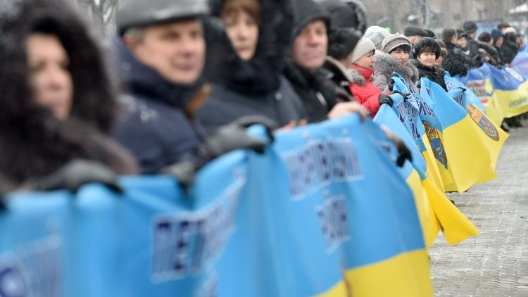 Ukrainians in Kyiv marking the 99th anniversary of the unification of eastern and western Ukraine in 1919.