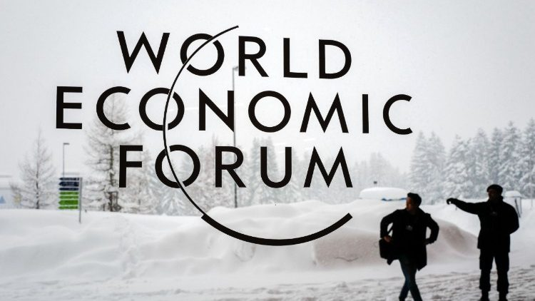 Photo outside the Davos Congress Centre ahead of the opening of the World Economic Forum