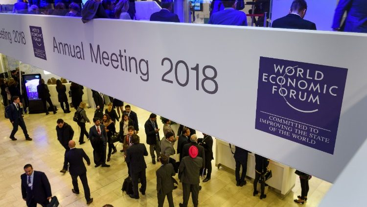 A view inside the Congress Centre during the annual World Economic Forum in Davos, Switzerland