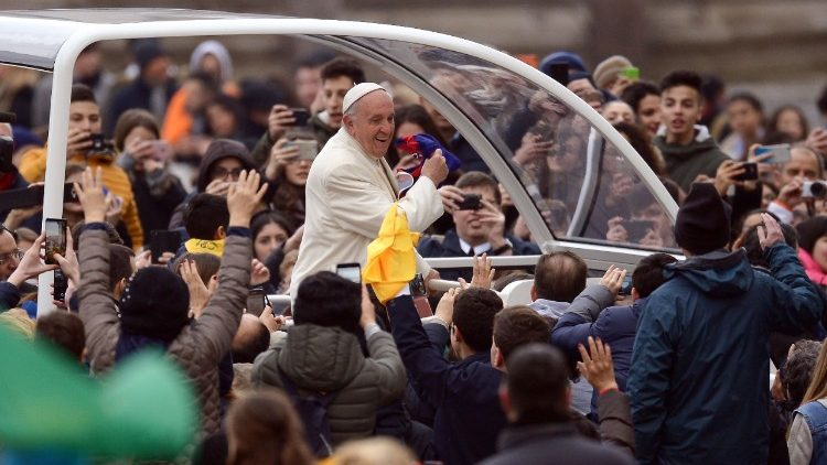 Pope Francis arrives in St. Peter's Square for the Wednesday General Audience