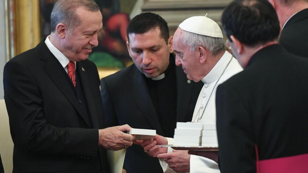 Image result for Pope Francis gave erdogan a large bronze medallion depicting an angel of peace