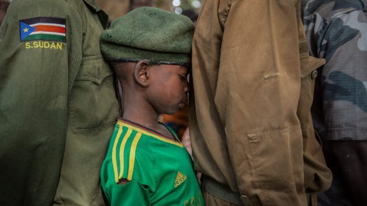 A release ceremony of child soldiers in South Sudan.