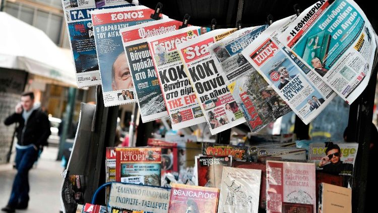 Newspapers displayed in Athens bear titles referring to worsening Greek-Turkish diplomatic relations