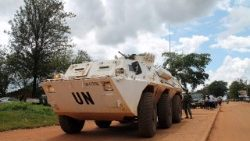 A UN peacekeeping armoured vehicle in Beni, DRC.