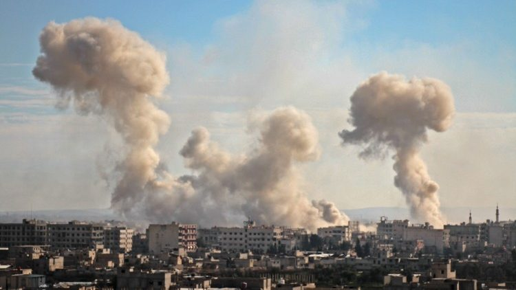 Smoke rises over the Syrian town of Eastern Ghouta following government strikes