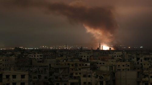 Smoke billows from the besieged Eastern Ghouta in Syria