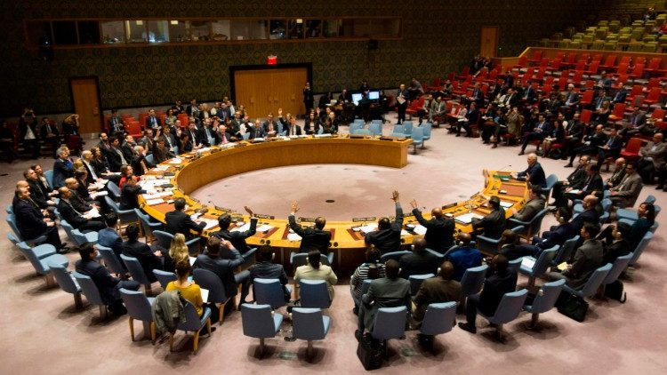 United Nations Security Council adopting a resolution in favour of a 30-day cease-fire in Syria.