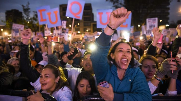 Supporters of former Colombian President and current senator Alvaro Uribe