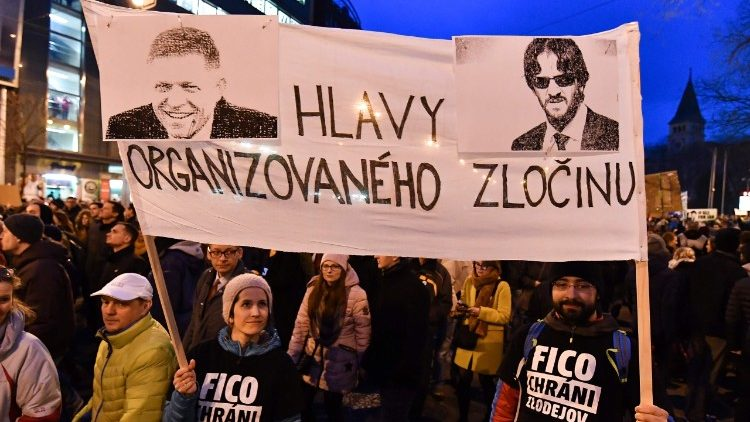 Slovakian take to the streets to protest alleged corruption in government