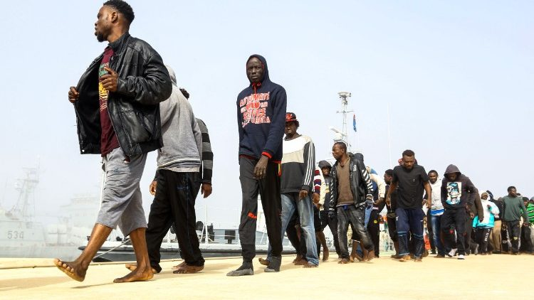 African migrants rescued from a ship off the Libyan coast