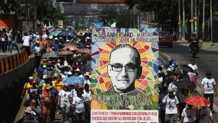 A march in San Salvador commemorating the anniverary of Archbishop Romero's assassination on March 24th 1980