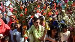 Pakistani Christians observing Palm Sunday at St. Anthony's Church, Lahore.