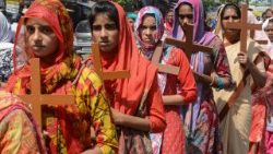 Indian Christians participating in a Holy Week service.