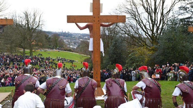 Enactment of the Passion of Christ on Good Friday in Germany.