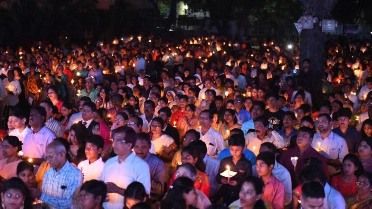 Indian Catholics attending Easter vigil Mass in Secunderabad.