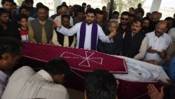 The funeral service of slain Pakistani Catholics in Quetta, April 3, 2018.