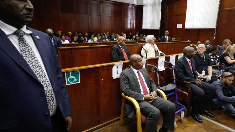 Former South African President Jacob Zuma appears at the High Court in Durban