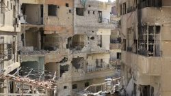 Destruction in Douma, on the outskirts of Damascus