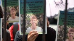 Protesters rally in Manila in support of Sr Patricia Fox