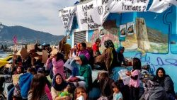 Migrants demanding to be released from the Greek island of Lesbos