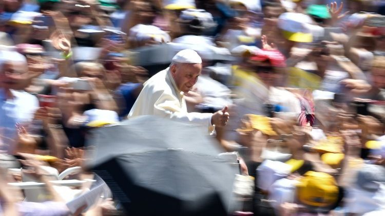 Pope Francis arrives in St. Peter's Square for an audience with pilgrims from the Bologna and Cesena dioceses