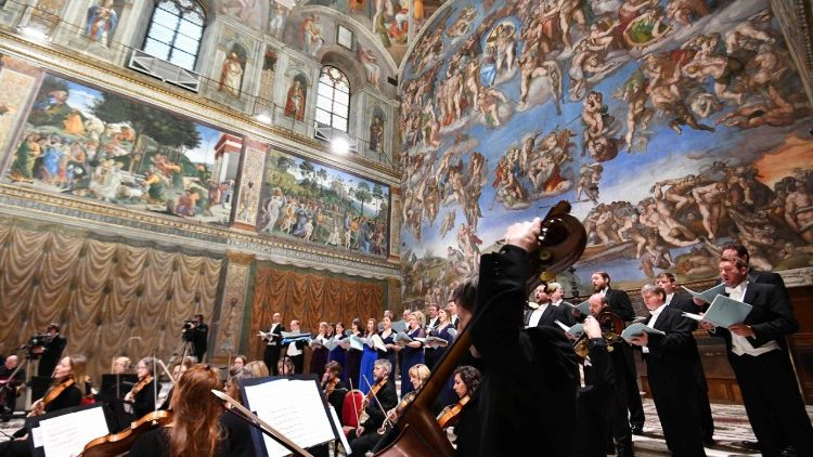 British choir 'The Sixteen' and orchestra 'Britten Sinfonia' perform MacMillan's Stabat Mater in the Sistine Chapel