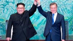 The North and South Korean leaders during a signing ceremony near the end of their historic summit